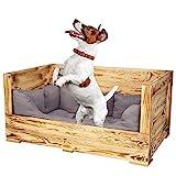 Truhenking Tolles Hundebett aus Holz mit Polsterung Holzkiste mit besonderer Holzmaserung und großem Einstieg| Neu | 90x57x45cm | Hundebett mit dickem & warmen Polster