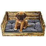 SuperKissen24 Hundebett Hundekorb Tierbett Katzenbett mit Holzkiste für Kleine, Mittlere und Grosse Hunde - Waschbar - Größe M - Schwarz und Grau