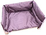 UIZSDIUZ Haustierbett Hundebett lila Haustier mit Zaun und Matratze, Massivholzrahmen Stabiler Pet Kennel, Katzenbett (Size : S(L47×W31xH25cm))