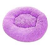 LOVIVER Katzenbett Hundebett Plüsch Kuschelbett Flauschiges rundes Haustierbett für Hund und Katze - Lila, 60cm