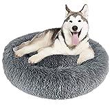 Granbest Luxus Plüsch Hundebett Katzenbett Rund Hundekissen Super Weich Doughnut-Form Haustierbett für kleine mittelgroße Hunde Kunstpelz Haustierbett Maschinenwaschbar (80cm, Hellgrau)