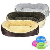 Smartweb Waschbares Flauschiges Hundebett 58 x 48 x 18cm für Hund und Katze Katzenbett Hundekissen Katzenkissen Tierkissen Farbe: Beige