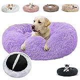 JRUI Hundebett für Mittelgroße Hunde, Waschbar Katzenbett Hundekissen, Rund Plüsch Hundesofa Hundekörbchen Katzenkissen Flauschig- lila Ø 50 cm